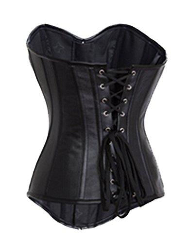 ZAMME mujers gótico Moda Front Button Acero Sin espinas Corsé Top Negro