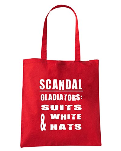 T-Shirtshock - Bolsa para la compra OLDENG00776 scandal gladiator suits white hats Rojo