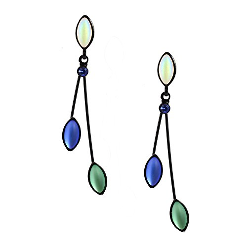 (Kristina Collection 2 Branch Leaf Drop Stud Earrings, White and Green Czech Glass on Black Memory Wire)
