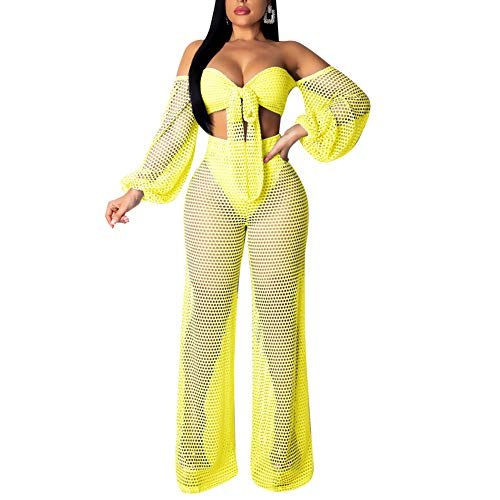 Oubaybay Women's Mesh Jumpsuits Bikini Wrapped Chest Lanterns Sleeves Wide Leg Pants Two Piece Outfits Yellow M