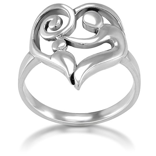 925 Sterling Silver Heart Shaped Mom and Child Love Ring, Size 6 (Mother Child Ring)