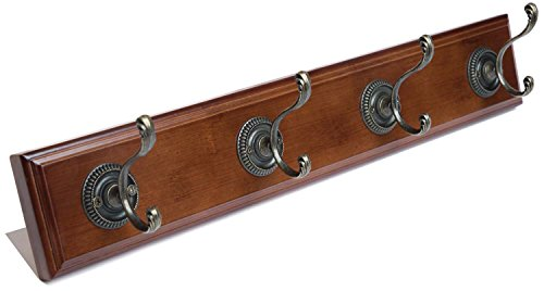 Premium Wall Mounted Coat Rack with 4 Bronze Hooks for Entryways, Hallways, Foyers and Bathrooms, 18.9 Inch, Dark Walnut Brown by VIE VIE