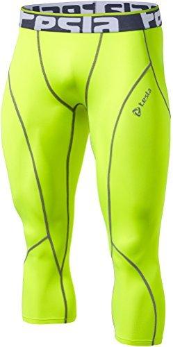 Tesla TM-P15-CTGZ_2X-Large Mens Compression Capri Shorts Baselayer Cool Dry Sports Tights P15