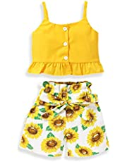 Toddler Kids Sunflower Clothes Baby Girl Halter Outfits Crops Tops +Floral&Leopard Short Pant Summer Clothing Set