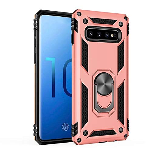 S10 Plus Case with Kickstand - Samsung Galaxy S10 Plus Case Magnetic Metal Back Ring - Full Body Cover Case Shockproof for S10+ Phone Case Ultra Slim Rugged Armor (Pink, S10 Plus)
