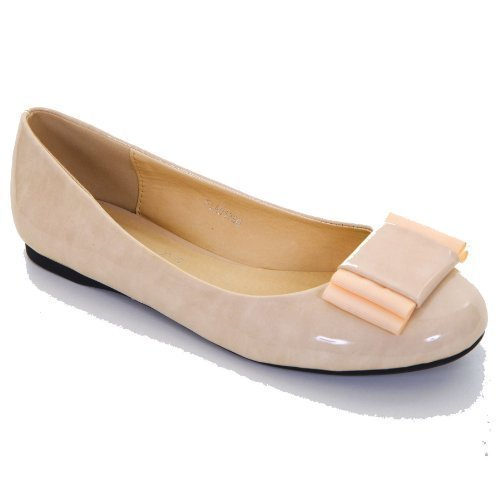 FANTASIA BOUTIQUE ® Ladies Bow Accent Patent Smart Casual Comfort Women's Flats Pumps Shoes 3-8 Beige sBfw95Ryr