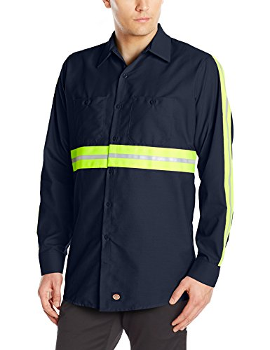 (Red Kap Men's Enhanced Visibility Industrial Work Shirt , Navy with Yellow/Green Visibility Trim,  Large )