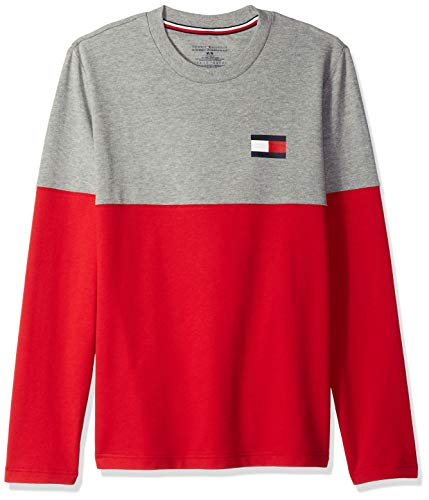 Tommy Hilfiger Men's Modern Essentials French Terry Long Sleeve Crew Neck, Grey Heather, Large