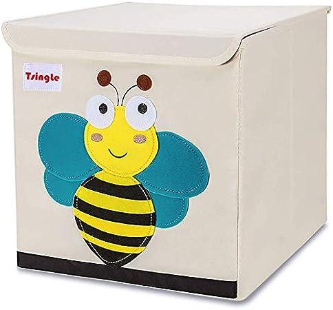 TsingLe - Caja de almacenamiento plegable para niños lona de dibujos animados, gran capacidad contenedor de almacenamiento con tapa cubo organizador para ropa zapatos juguetes 33 x 33 x 33 cm (36L): Amazon.es: Hogar