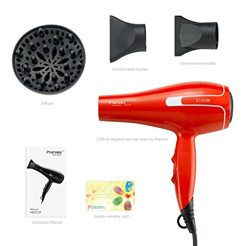 Hair Dryer Ptatoms Professional Ionic Blow Dryer AC 2100W with Blue Light 2 Speeds - 3 Heat Settings For Home Barbershop (Red)