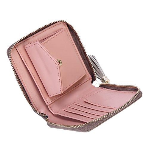 Damara® Damen Vierkantig Exquisite Geldbörse Mit Quaste Hellgrau h5EfG