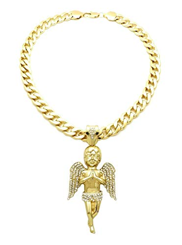 (SJ ICED Out Baby Angel Pendant 11mm/20 Cuban Chain Hip HOP Necklace RC3372 (Gold))