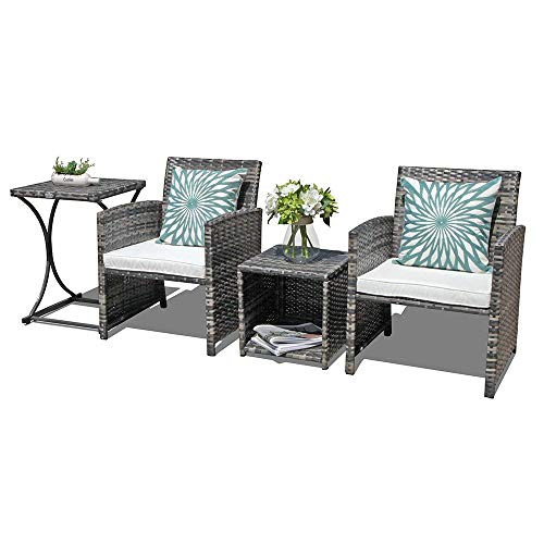 Orange Casual 4 Pieces Outdoor Wicker Patio Bistro Set Weather Resistant Patio Rattan Furniture Sets with 2 Side Tables for Garden Backyard ()