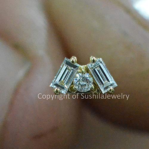 14k Solid Yellow Gold Baguette Diamond Tiny Studs Earrings Fine Handmade Minimalist Ear Jewelry