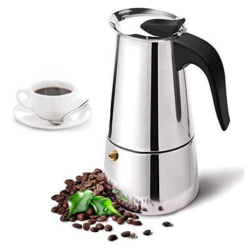 Zeeanker Cafetera Italiana,Coffee Machine,Cafetera espressos en Acero Inoxidable,Conveniente para la Cocina de inducción…