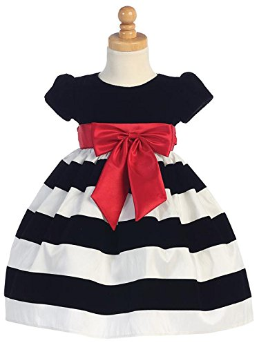 4t Christmas Holiday Dress (Lito Girls Christmas Holiday Dress Velvet Bodice with Bow and Striped Skirt (White, 4T))