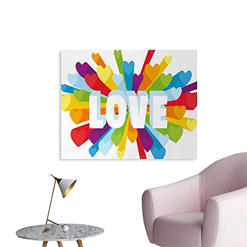 Tudouhoho Pride The Office Poster Love Valentines Theme Burst with Cute Little Colorful Hearts Word LGBT Gay Lesbian Wallpaper Multicolor W32 xL24