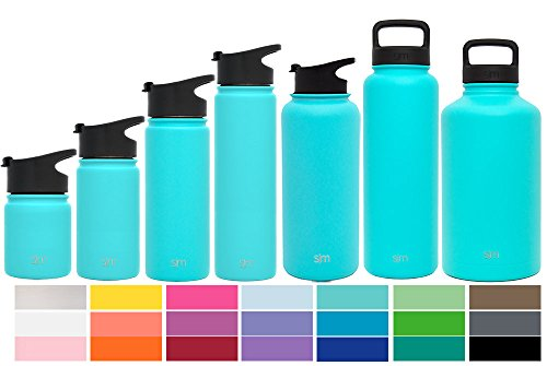 Simple Modern 40oz Summit Water Bottle + Extra Lid - Vacuum Insulated Stainless Steel Wide Mouth Hydro Travel Mug - Powder Coated Metal Flask - Caribbean Blue