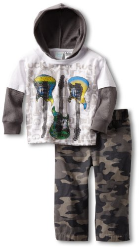 Rock Baby Clothes for Boys - Guitar Hoodie and Camo Pants
