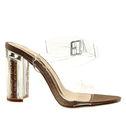 Angkorly - Scarpe da Moda sandali sexy donna trasparente paillette tanga Tacco a blocco tacco alto 10 CM - Champagne