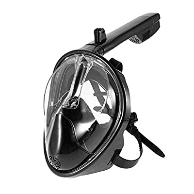 ZIPOUTE Snorkel Mask Full Face, Full Face Snorkel Mask Adult and Kids with Detachable Camera Mount, Snorkeling Mask 180 Panoramic View Anti-Fog Anti-Leak Dry Top Set with Adjustable Straps ...