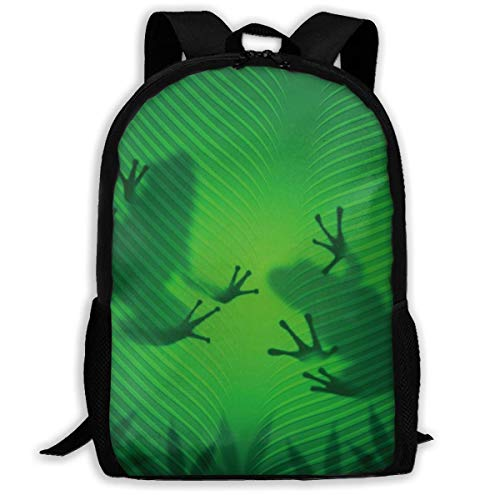 Outdoor School Printed Computer Backpack Frog Shadow Silhouette On The Banana Tree Leaf In Tropical Lands Jungle Fits 17 Inch Laptop and Notebook