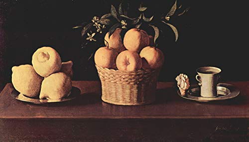 Home Comforts Peel-n-Stick Poster of Zurbarán, Francisco de - Plate with Lemons, Oranges and Basket with Rose Vivid Imagery Poster 24 x 16 Adhesive Sticker Poster Print