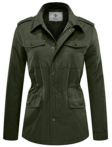 WenVen Women's Military Washed Twill Hooded Utility Anorak Jacket Outers(Army Green,Medium) - Green Twill Jacket