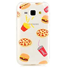 For iphone 5/5S/SE Case ,JIEJIEWYD Ultra Thin Soft Gel TPU Case Cute Cartoon Transparent Fit Pattern Case for iphone 5/5S/SE - Funny French Fries Pizza Pattern