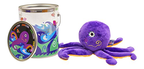 ZOOCCHINI Ollie the Octopus Bucket Friend - Plush Stuffed Animals for Kids - Includes Decorative Bucket
