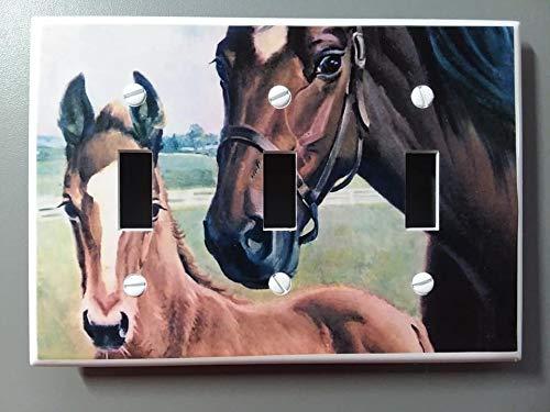 3-toggle Horses Horses Light Switch Plate Cover Farm Horse Design #104 Triple Toggle
