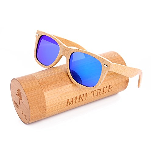 Mini Tree Polarized Handcraft Bamboo Sunglasses Wayfarer Vintage Shades For Men and Women (Bamboo, Blue)