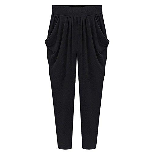 Doinshop Harem Pants Womens Plus Size Wide Legg Elastic High Waist Long Loose Casual Trousers with Pocket (M, ()