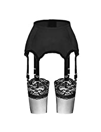 Slocyclub Women 6 Straps Stretchy Garter Belt and Stocking Sets with Metal Clips