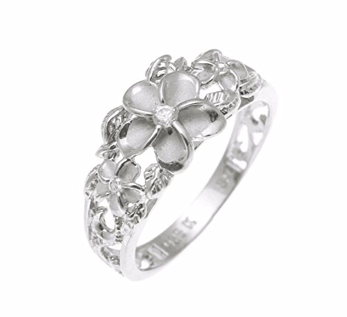 (Sterling silver 925 Hawaiian 3 plumeria flower cz ring maile cut out scroll rhodium plated size 8)
