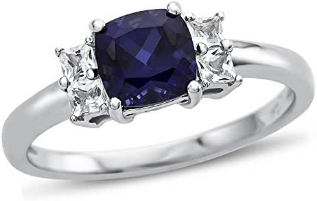 6x6mm Cushion Created Sapphire and White Topaz Ring 10kt Gold