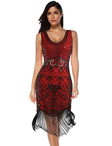 Women's Flapper Vintage Dresses 1920s Beaded Fringed Great Gatsby Dress (Red Black, XXL)