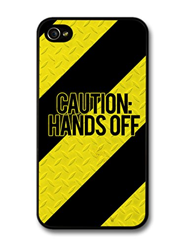 Cool Caution Hands Off Steel Warning Tape Style Design case for iPhone 4 4S