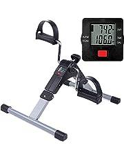 Himaly Minibike motionscykel motionstränare pedaltränare träningsutrustning med LCD-skärm justerbar motstånd cykeltränare fitness cykel bentränare hem kontor
