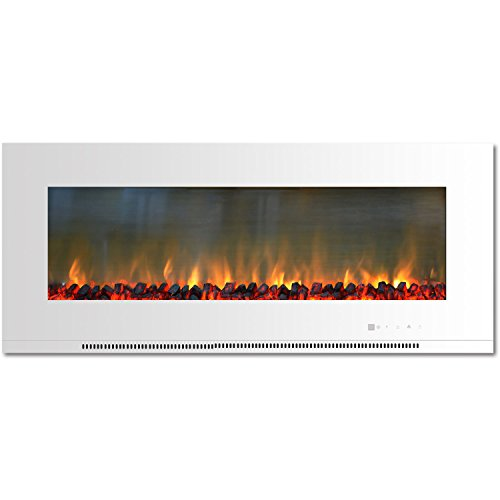 Cambridge CAM56WMEF-2WHT Metropolitan 56 In. Wall-Mount Electric Fireplace in White with Burning Log (Cambridge Electric Fireplace)