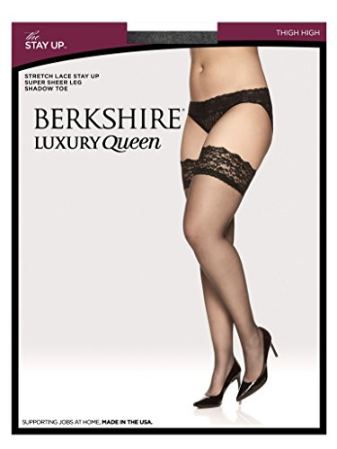 Berkshire Women's Luxury Queen Lace Top Thigh High - Plus Size, Fantasy Black, 3X-4X by Berkshire