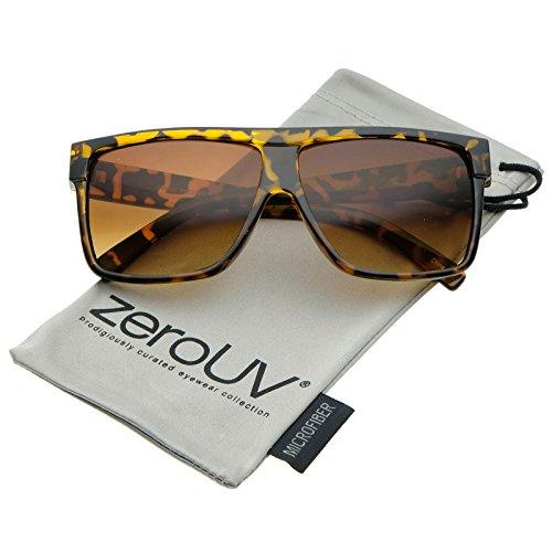 Tortoise Shiny Glass Amber (Oversize Flat Top Wide Temples Square Aviator Sunglasses 61mm (Shiny Tortoise/Amber))