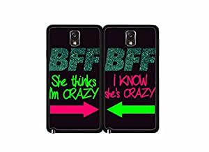 2015 CustomizedBFF I Know She's Crazy Set of 2 Best Friend TPU RUBBER SILICONE Phone Case Back Covers Samsung Galaxy Note III 3 N9002