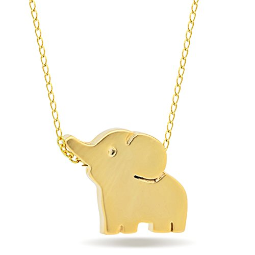 - Tzaro-Jewelry 14k Gold Plated Elephant Pendant Necklace with Lobster Clasp, 15+2