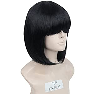 Unisex Short Straight Cosplay Costume Wigs for Women Bob Hair (Dark Pink)