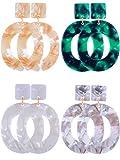 Jetec 4 Pairs Acrylic Earrings Hoop Drop Earrings Bohemian Statement Earrings Resin Mottled Stud Earrings for Women Girls Jewelry