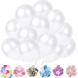Time to Sparkle 100pcs Ballons Nacré Perlé Gonflables Ballons pour Fêtes Anniversaire Cérémonie de Mariage Party Décorations (Latex-Blanc (100pcs)) 4