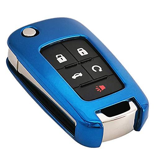 - Blue Soft TPU Flip Key Fob Case Holder Jacket Protector for Chevy Equinox Camaro Cruze Malibu Sonic Volt Park Impala Buick Encore Allure Regal Verano Lacrosse