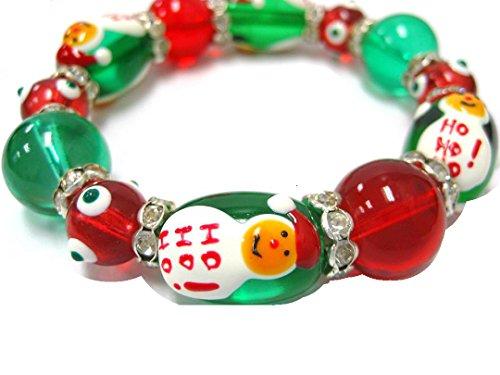3D Hand Painted Christmas Tree & Santa HOHOHO Glass Beads Bracelet Earrings Set (Earring Santa Pattern)