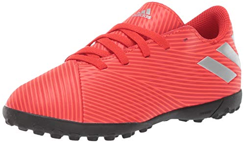 adidas Unisex Nemeziz 19.4 Turf Soccer Shoe, Active Silver Metallic/Solar Red, 4.5 M US Big Kid